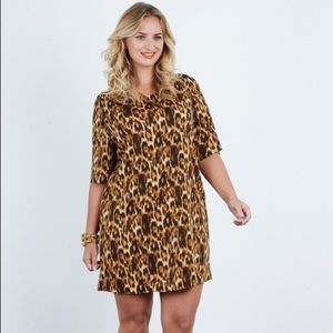 Anna Scholz silk and elastane leopard tunic dress